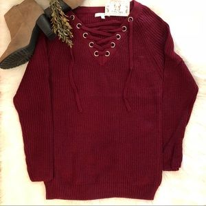 NWT 🍁READY FOR FALL NEW MERLOT TUNIC SWEATER
